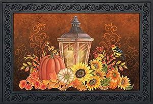 """Fall Lantern Primitive Doormat Pumpkins Sunflowers Indoor Outdoor 18"""" x 30"""""""
