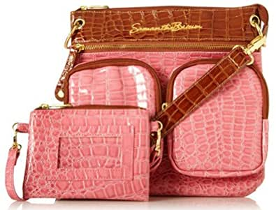 SAMANTHA BROWN Square Crossbody Bag with Wristlet - PINK/CAMEL