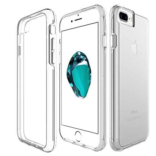 Pink Jeweled Heart (iPhone 8 Plus / 7 Plus / 6S Plus Case, KAMII Crystal Clear Ultra-thin Scratch Resistant Hard PC Back TPU Bumper Cover Case for Apple iPhone 6 Plus /6S Plus / 7 Plus / 8 Plus 5.5 Inch (Clear))