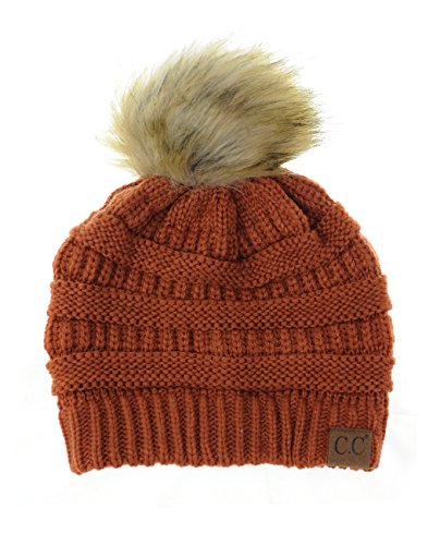 NYFASHION101 Exclusive Soft Stretch Cable Knit Faux Fur Pom Pom Beanie Hat - Rust
