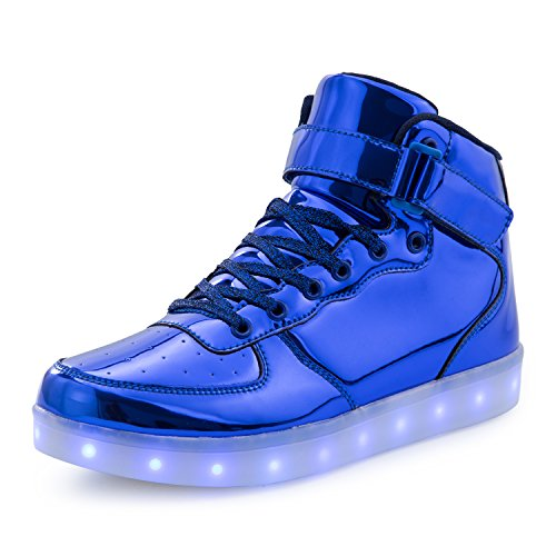 FLARUT Kids High Top LED Shoes Light Up USB Charging Boys Girls Sneakers(US 10 Little Kid/EU 28,Blue 2)