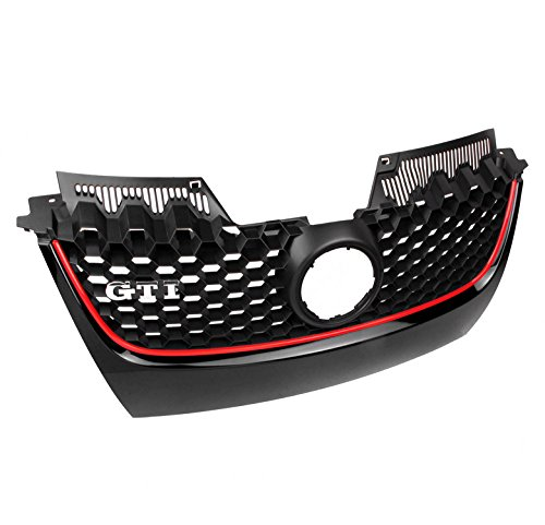 ZMAUTOPARTS VW GTI Gli Jetta MK5 Front Main Hex Mesh Bumper Center Grille W/Red Strip ()