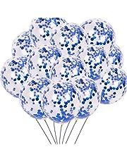 20 عبوة من بالونات كونفيتي زرقاء 30.48 سم شفافة من اللاتكس وشريط بالون أزرق من أجل لوازم تزيين حفلات أعياد الميلاد السعيدة وحفلات الزفاف