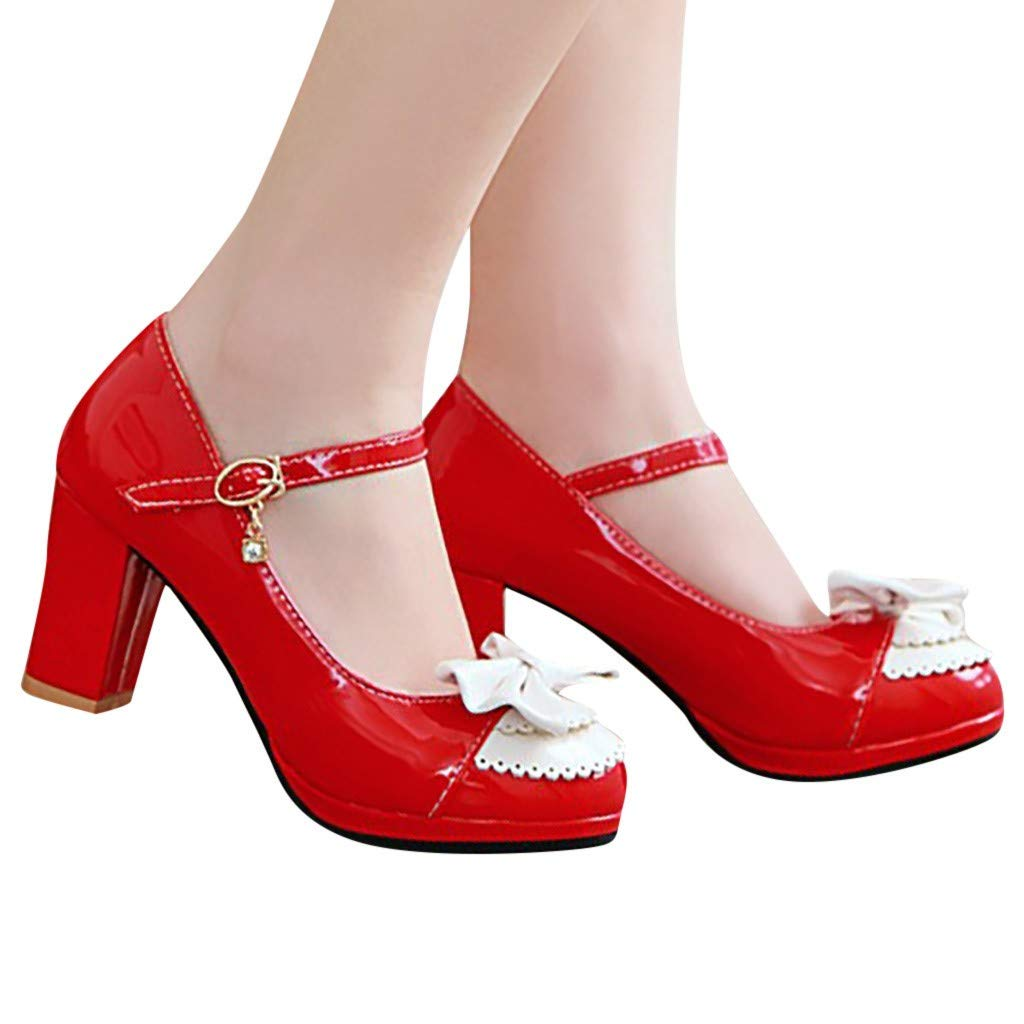 Womens Vintage Rockabilly Shoes Mary Jane Chunky High Heels Platform Pumps with Bow Knot