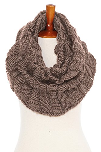Basico Unisex Winter Knitted Ribbed Infinity Scarf Soft Tassel Fringe Various Colors
