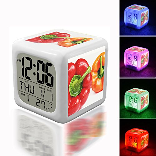 - Wake Up Alarm Thermometer Night Glowing Cube 7 Colors Clock LED for Bedroom&Table,School Desk Customize 441.Paprika, Bio, Healthy, Red, Food, Vegetables, Eat