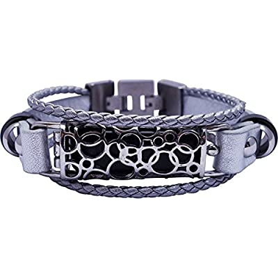Fitbit Bracelet SOMA - FitBit flex Jewelry - SILVER - stainless steel - real leather