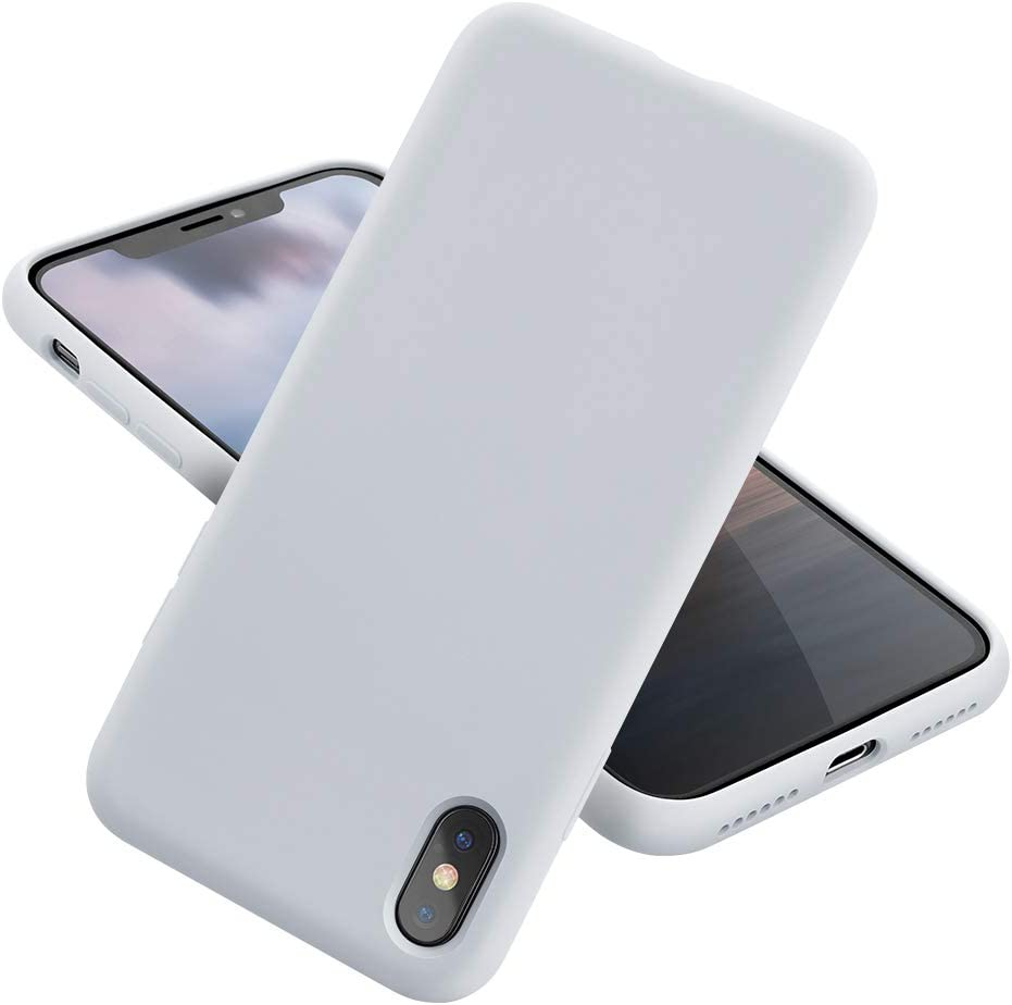 MCUCA iPhone X Case/iPhone Xs case Liquid Silicone Gel Rubber Bumper Case,Ultra-Thin Soft Microfiber Lined Full Body Protective Case Cover for Apple iPhone X/iPhone Xs (White)
