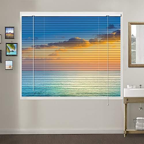 Patterned Aluminium Mini Window Blinds, Premium 1-inch Light Filtering Horizontal Custom Blinds, 24″ W x 60″ L