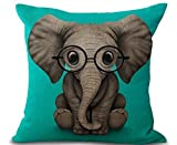 Phapyness Funny Lovely Animals Abstract Adorable Elephant Baby Wearing Glasses Green Background Cotton Linen Throw Pillow Case (elephant) …