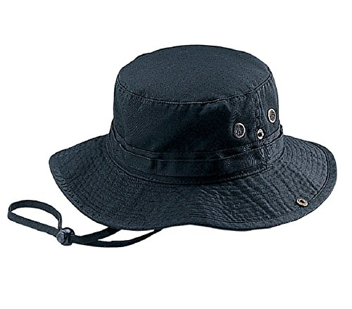 (Mega Cap Wholesale Washed Cotton Fishing Hunting Hiking Outdoor Bucket Hat w/Chin Cord (Black, Size M) -)