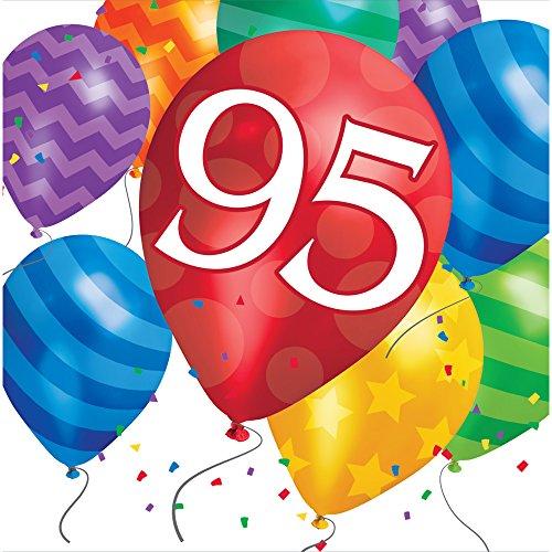 1240322 16 Count 100Th Birthday Balloon Blast Lunch Napkins, Multicolor ()