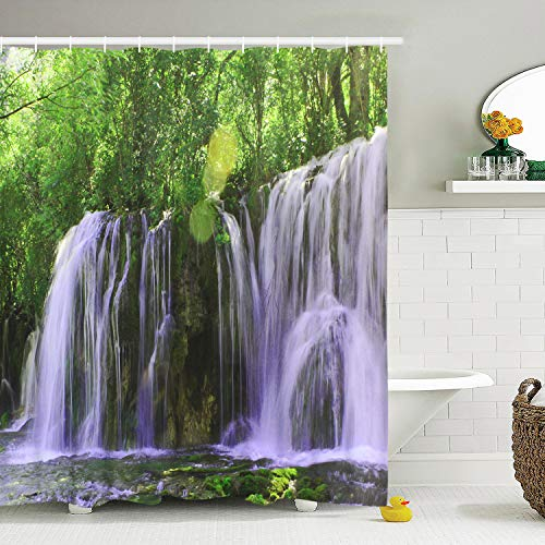 BLEUM CADE Nature Scenery Shower Curtain Waterfall Stone Forest Bathroom Shower Curtain Durable Waterproof with 12 Hooks