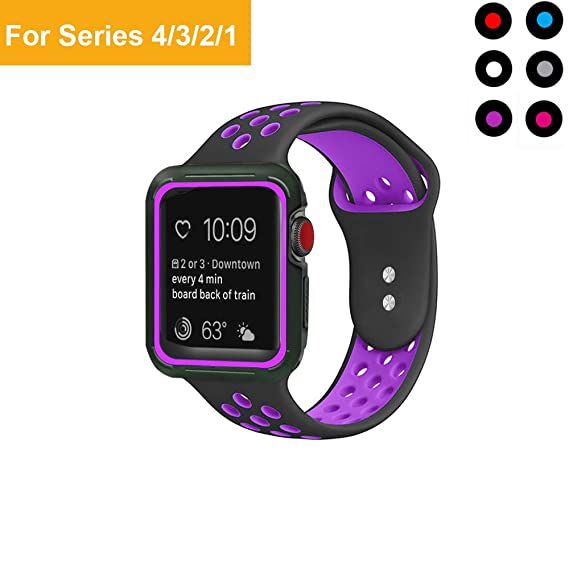 low priced 96651 17857 Boringbull Compatible Apple Watch Band with Case 42mm 44mm - Soft Silicone  Sport iWatch Band Shock-Proof Protective Case Compatible iWatch Series ...