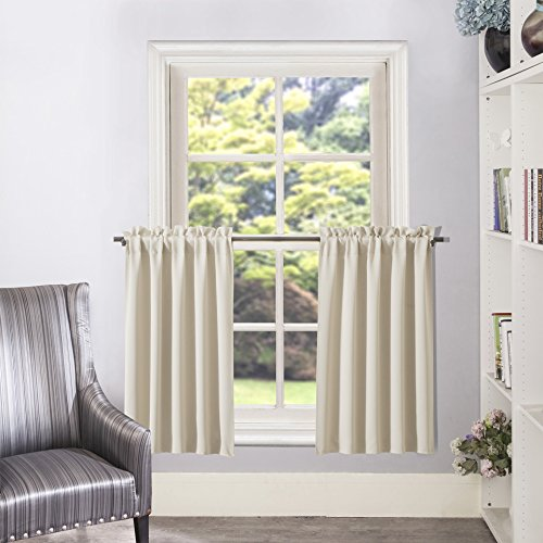 Aquazolax Half Window Blackout Curtains Solid Color Tailored Tier/Valance/Cafe Curtains, 2 Panels, 28