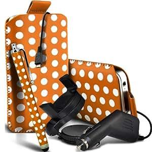 Nokia Lumia 920 Protección Premium Polka PU ficha de extracción Slip Cord En cubierta de bolsa Pocket Skin rápida Con Large Matching Stylus Pen, Micro 12v cargador USB para el coche y 360 Sostenedor giratorio del parabrisas del coche cuna anaranjado y blanco por Spyrox