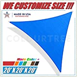 ColourTree 20' x 20' x 20' Sun Shade Sail Canopy  Triangle Blue - Commercial Standard Heavy Duty - For Outdoor Patio Garden UV Block - 4 Years Warranty