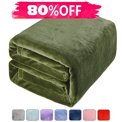 Full Color Throw - LBRO2M Fleece Bed Blanket Super Soft Warm Fuzzy Velvet Plush Throw Lightweight Cozy Couch Twin/Queen/King Size (Twin(90 by 65 luches), Green)