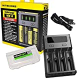 NITECORE New i4 2016 Intellicharger smart battery Charger for Li-ion / IMR / Ni-MH/ Ni-Cd 26650 22650 18650 18490 18350 16340 RCR123 14500 AA AAA AAAA D with EdisonBright BBX3 battery carry case