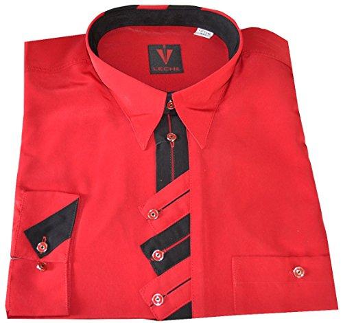 Leché Designerhemd langarm mit schwarz-Roter Zick-Zack-Leiste