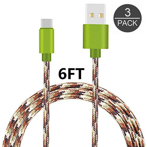 (USB Type C Cable, Assure Nylon Braided Long Cord-USB Data Charge Charging Cable for ZTE Zmax Pro Z981/Samsung Galaxy S8,S8 Plus/Google Pixel/Pixel XL, Nexus 6p/5X,LG G5 and More (Camo 222))