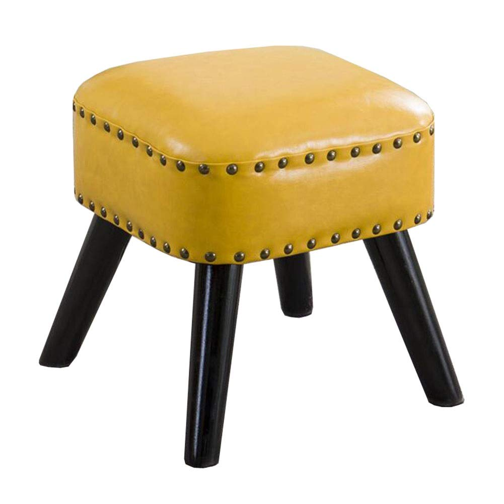 Yellow 30×30×35cm Dall Footstool PU Seat shoes Bench Sofa Stool Wood Legs Square Small Stool Multifunctional, 8 colors (color   bluee, Size   36×36×42cm)