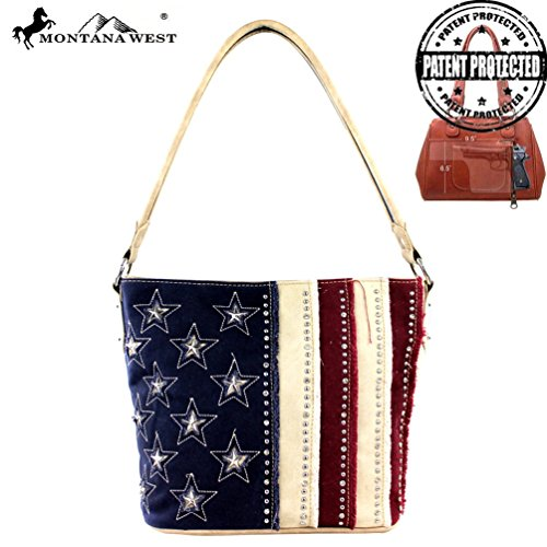 Montana West Concealed Handgun Carry American Pride Collection Purse - American Leather Collection