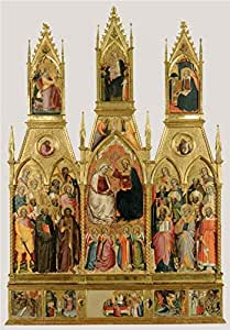 The Linen Canvas of oil painting 'Polyptych with Coronation of the Virgin and Saints, about 1390s By Cenni di Francesco di Ser Cenni' ,size: 18x26 inch / 46x66 cm ,this Replica Art DecorativePrints on Canvas is fit for Home Theater decor and Home artwork and Gifts