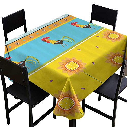 SKDSArts Black Square Tablecloth Gallos Decor Collection,Rooster Pattern with Sunflowers Seasonal Summer Time Greenery Sky Floating Clouds Design,Yellow Blue,W36 x L36 Dinner Picnic Table Cloth