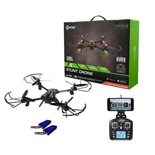 Contixo F6RC Drone cuadricóptero de carreras 2.4GHz, 6 ejes, giroscopio con cámara HD rotatoria de 720p, transmisión en vivo con FPV (vista en primera persona por sus siglas en inglés), sin cabeza, tiempo de vuelo de 18 minutos, vueltas de 360, aplicación móvil, planeador, compatible con VR (realidad virtual por sus siglas en inglés), Negro, F6 Bundle1, 1