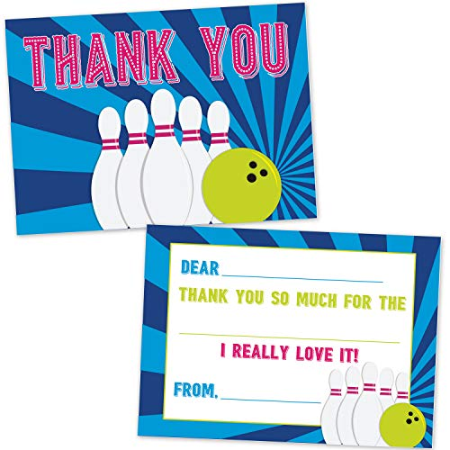 Bowling Fill in The Blank Thank You Cards for Kids (20 Count with Envelopes) - Bowling Party Supplies for Boys and Girls - Cosmic Neon Bowling Thank You ()
