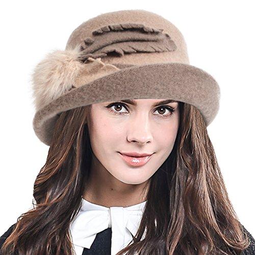 Women's Wool Dress Church Cloche Cap Leaf Felt Bucket Bowler Hat C024 (Apricot) ()