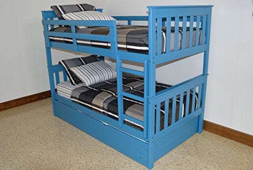 ASPEN TREE INTERIORS BEST TRUNDLE BED BUNKS WITH LADDER, Twin Over Twin Kids Beds Bunkbeds, Space Saving Sleeping For Three Children, USA Amish Sturdy & Long Lasting Bedroom Furniture, Sky (Junior Twin Futon)