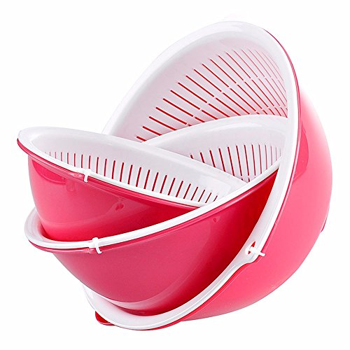 LOSTRYY Double layer of plastic drain fruit basket home green round snake basin fruit large removable easy to use, pink round