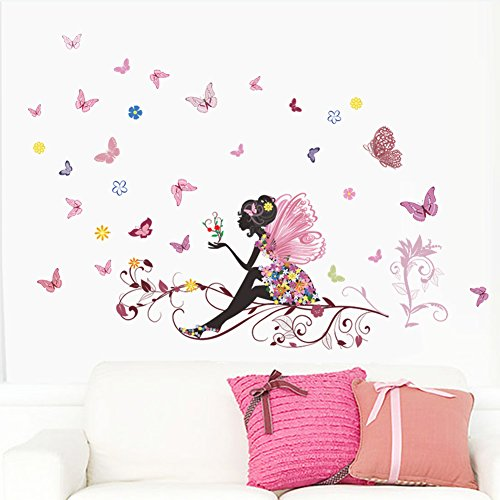 ZXWFOBEY Flower Butterfly Girl Removable PVC DIY Wall Art Mural Sticker Decal Decor for Living Room/Bedroom/Playroom/Hallway/Kindergarten/Home Office/School