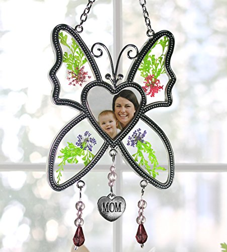 Banberry Designs Mom Butterfly Mother Suncatcher - Pressed Flowers In Between Glass - Heart Shape Picture Opening by Banberry Designs