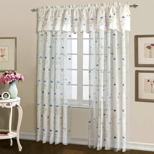 United Curtain Loretta Embroidered Sheer Window Curtain Panel, 52 by 63-Inch, White/Blue