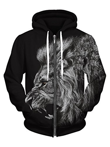 - Royalove Mens Animal Printing Full Zip Fleece Hoodies Sweatshirt Jacket Tops Lion Black L