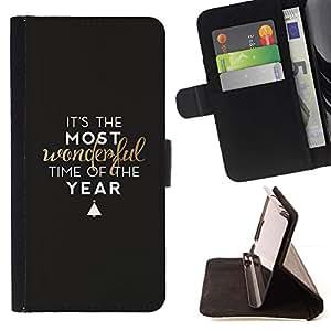 Cita Negro árbol Vacaciones de Invierno- Modelo colorido cuero de la carpeta del tirón del caso cubierta piel Holster Funda protecció Para Apple (5.5 inches!!!) iPhone 6+ Plus / 6S+ Plus