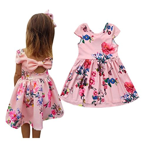Kehen Kids Toddler Baby Girl Summer Clothes Floral Print Bowknot Princess Party Pageant Dress Outfit with Bows