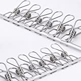 Adv-one Clothes pins, Multi-purpose Stainless Steel Wire,Cord Clothes Peg Clamp Pins Utility Clips,Hooks for Home/Office