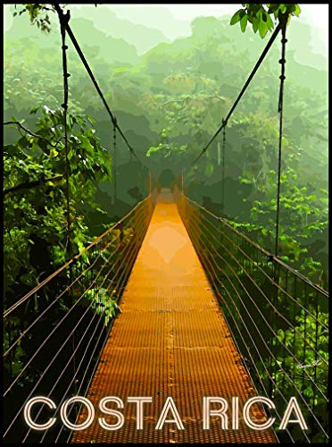 A SLICE IN TIME Costa Rica Beach Rainforest Expansion Bridge Central America Travel Collectible Wall Decor Poster Advertisement Art Print. Measures 10 x 13.5 inches