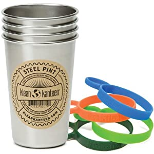 Klean Kanteen Stainless Steel Pint Cup Pack Of 4 (Stainless, 16-Ounce) with 4 Multi-Color Silicone Pint Cup Rings