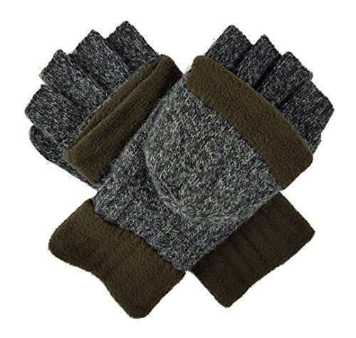 Bruceriver Wool Knitted Convertible Fingerless Driving Gloves with Mitten Cover