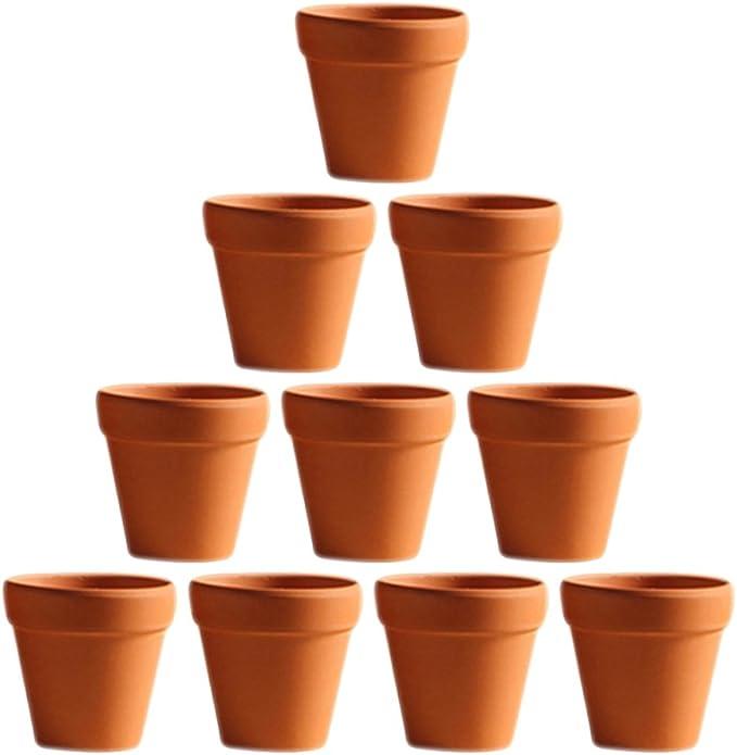 12pcs Mini cuite Planteur argile Poterie C/éramique Pots de fleurs Pots dargile pour les plantes Mini Cactus Flower Pots Cactus Succulent Nursery Pot pour usage /à lext/érieur dint/érieur