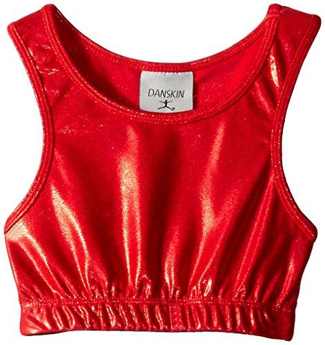 Crop Dance Top (Danskin Little Girls' Gymnastics Basics Crop Top, Red, Intermediate (6X-7))