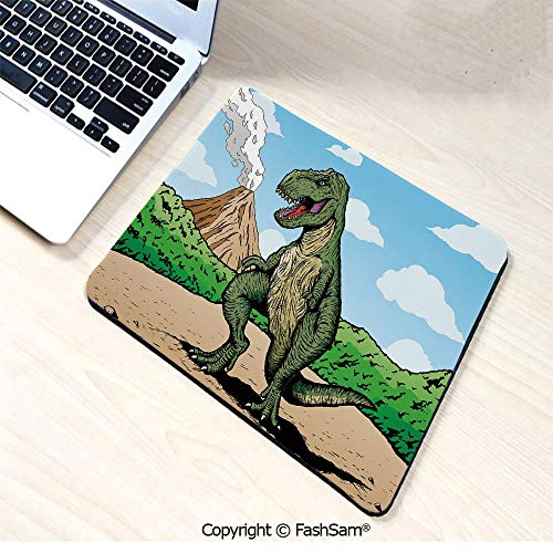 Mad Dog Lizard - Non-Slip Rubber Mouse Pads Giant Lizard T Rex on Active Volcano Untouched Jungle Backdrop for Computers Laptop Office(W7.8xL9.45)
