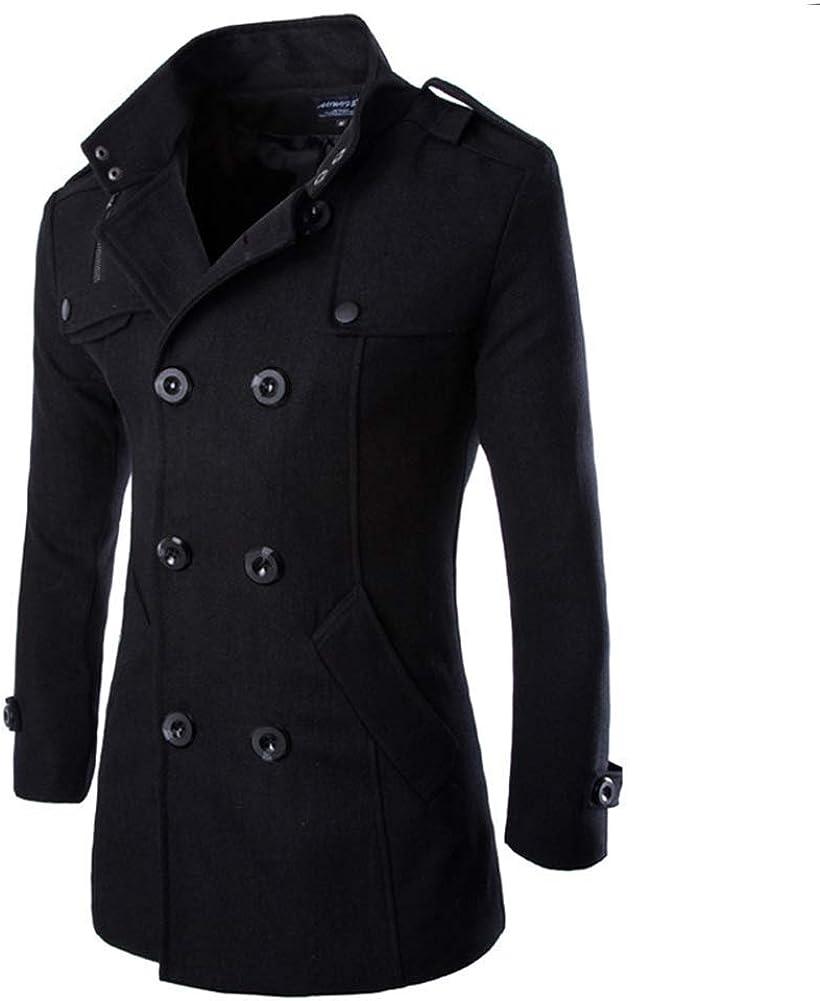 Hombres Oto?o Invierno Doble Fila Bot¨®n Abrigo Top Blusa Chaqueta Hombres Jacket Outerwear Tops Blazer