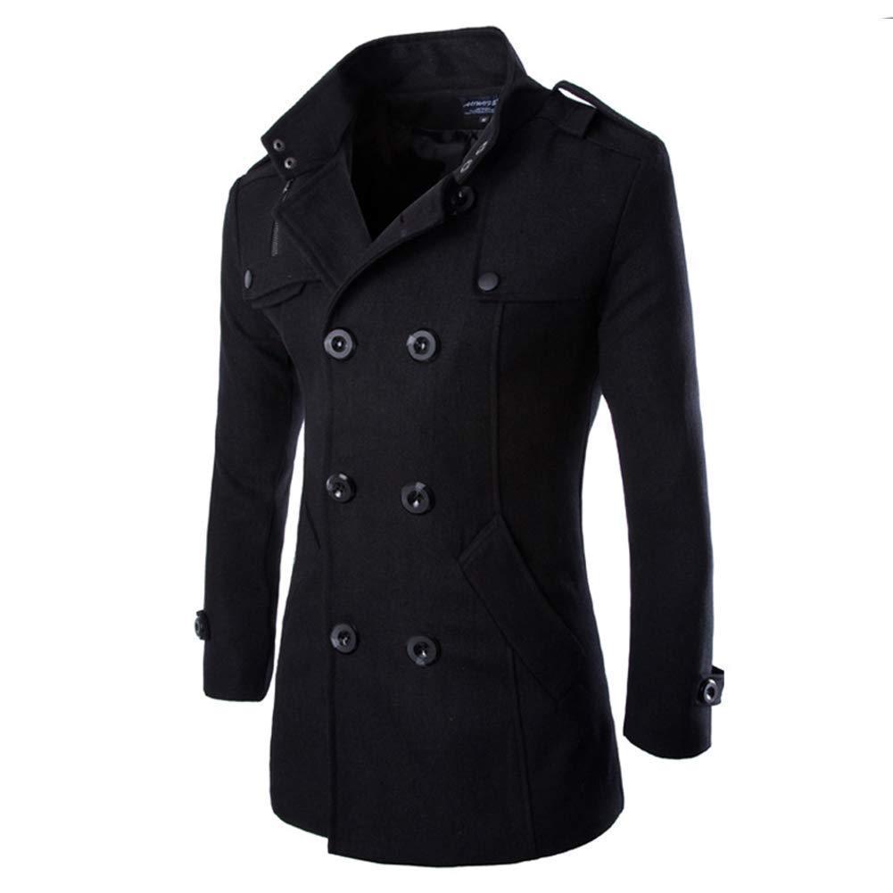 TALLA XL. Hombres Oto?o Invierno Doble Fila Bot¨®n Abrigo Top Blusa Chaqueta Hombres Jacket Outerwear Tops Blazer