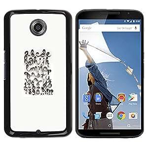 For Motorola NEXUS 6 / X / Moto X Pro Case , Calligraphy Design White Abc - Diseño Patrón Teléfono Caso Cubierta Case Bumper Duro Protección Case Cover Funda